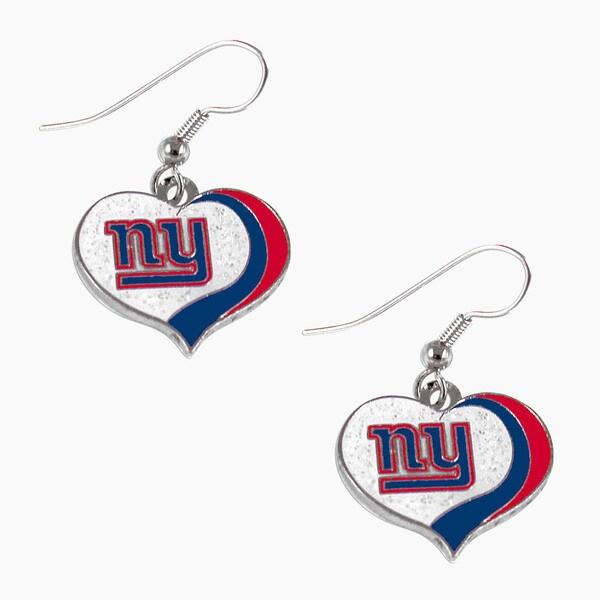 NFL New York Giants Glitter Heart Earring Swirl Charm Set