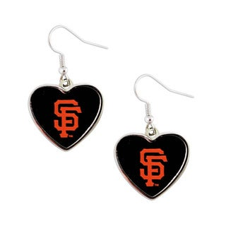 MLB San Francisco Giants Heart Shape Dangle Logo Earring Set