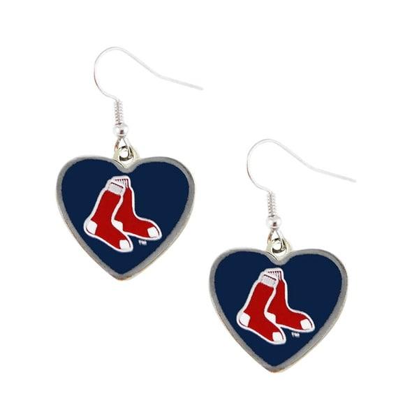 MLB Boston Red Sox Heart Shape Dangle Logo Earring Set