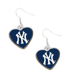 MLB New York Yankees Heart Shape Dangle Logo Earring Set
