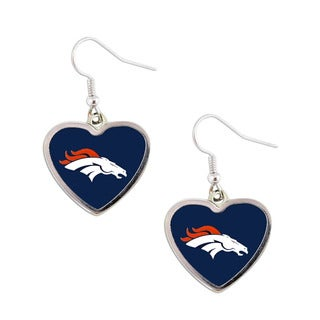 NFL Denver Broncos Heart Shape Dangle Logo Earring Set
