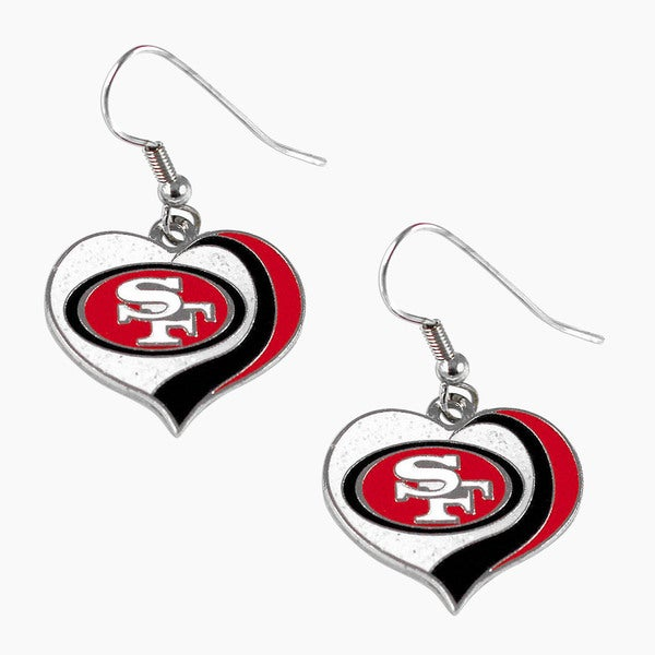 NFL San Francisco 49ers Glitter Heart Earring Swirl Charm Set