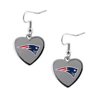 NFL New England Patriots Heart Shape Dangle Logo Earring Set