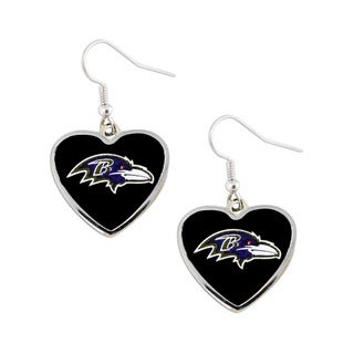 NFL Baltimore Ravens Heart Shape Dangle Logo Earring Set