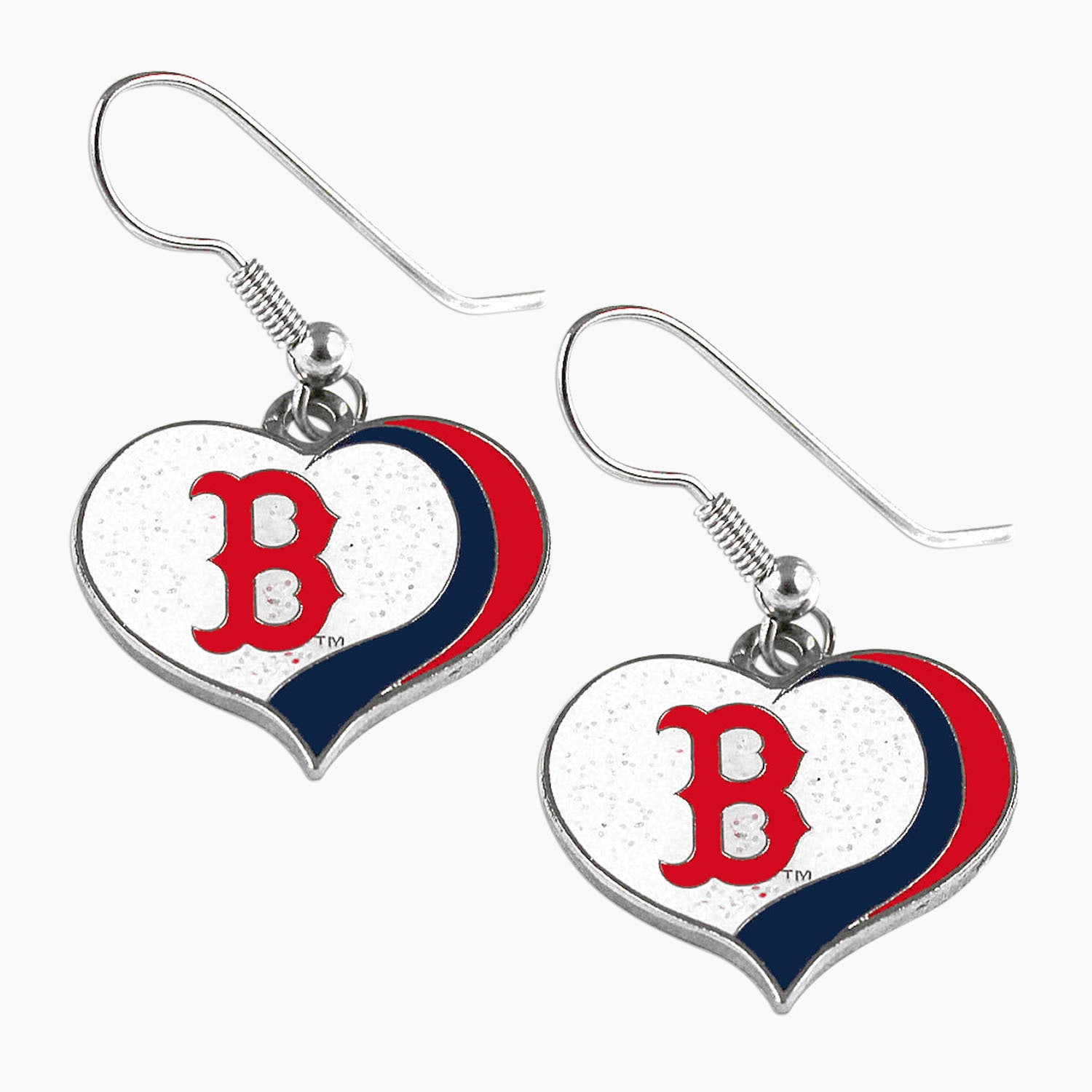 Aminco Usa MLB Boston Red Sox Glitter Heart Earring Swirl...