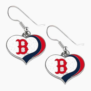 MLB Boston Red Sox Glitter Heart Earring Swirl Charm Set