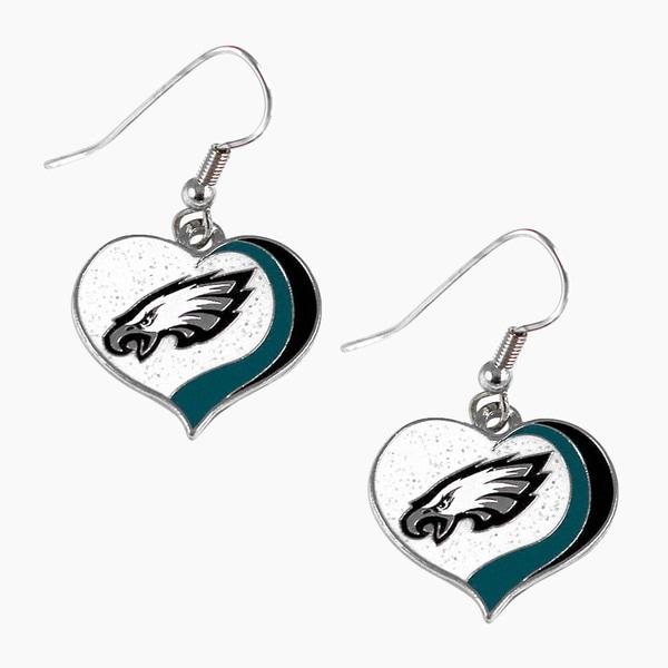 NFL Philadelphia Eagles Glitter Heart Earring Swirl Charm Set