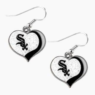 MLB Chicago White Sox Glitter Heart Earring Swirl Charm Set