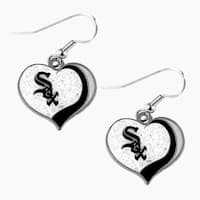 MLB Chicago White Sox Glitter Heart Earring Swirl Charm Set