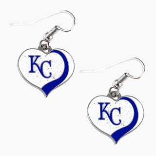 MLB Kansas City Royals Glitter Heart Earring Swirl Charm Set