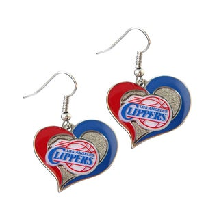 NBA Los Angeles Clippers Swirl Heart Shape Dangle Logo Earring Set