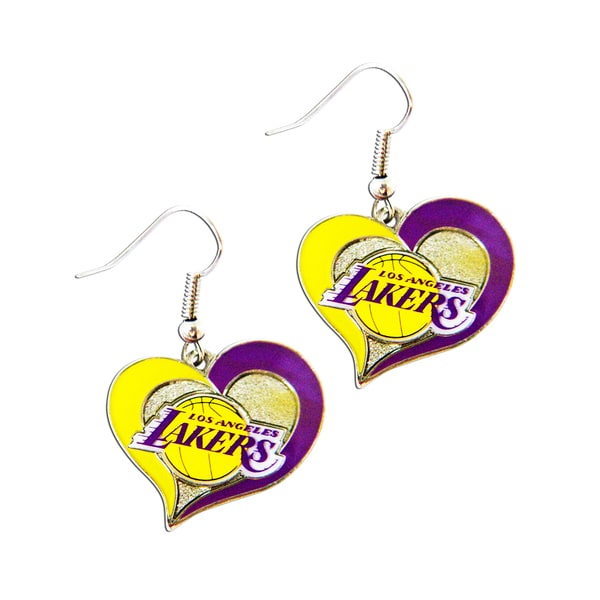 NBA Los Angeles Lakers Swirl Heart Shape Dangle Logo Earring Set