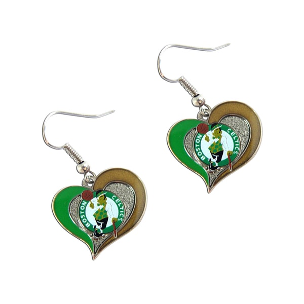 NBA Boston Celtics Swirl Heart Shape Dangle Logo Earring Set
