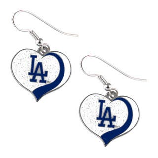 MLB Los Angeles Dodgers Glitter Heart Earring Swirl Charm Set|https://ak1.ostkcdn.com/images/products/11101300/P18106018.jpg?impolicy=medium