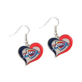 NBA Oklahoma City Thunder Swirl Heart Shape Dangle Logo Earring Set