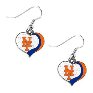 MLB New York Mets Glitter Heart Earring Swirl Charm Set