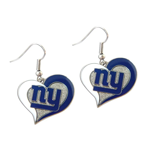 NFL New York Giants Swirl Heart Shape Dangle Logo Earring Set Blue