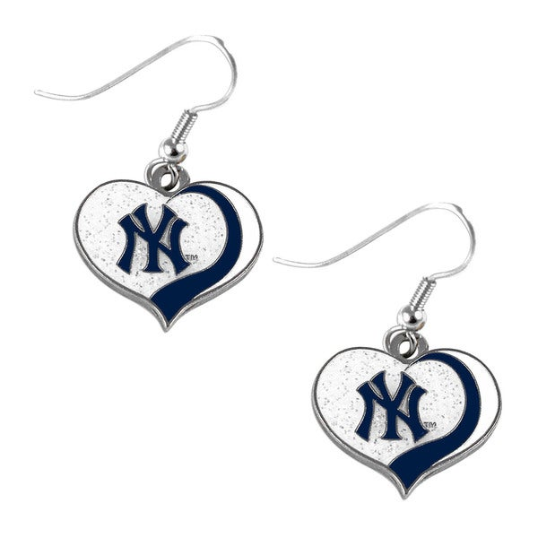 MLB New York Yankees Glitter Heart Earring Swirl Charm Set