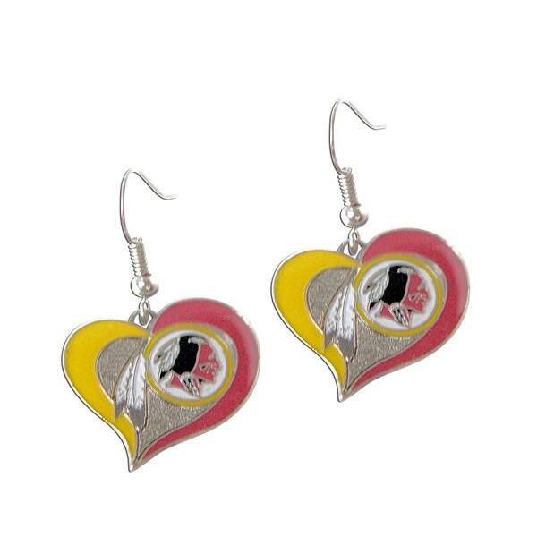 NFL Washington Redskins Swirl Heart Shape Dangle Logo Earring Set