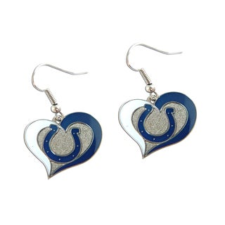 NFL Indianapolis Colts Swirl Heart Shape Dangle Logo Earring Set
