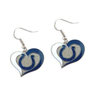 NFL Indianapolis Colts Swirl Heart Shape Dangle Logo Earring Set