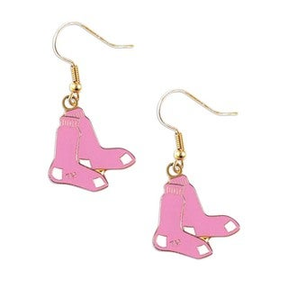 MLB Pink Boston Red Sox Dangle Hoop Earring Charm Set