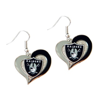 NFL Oakland Raiders Swirl Heart Shape Dangle Logo Earring Set
