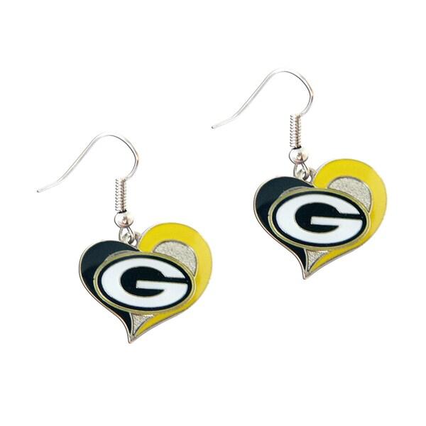 NFL Green Bay Packers Swirl Heart Shape Dangle Logo Earring Set