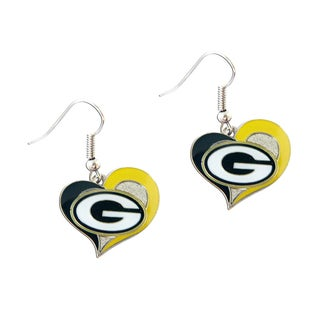 NFL Green Bay Packers Swirl Heart Shape Dangle Logo Earring Set