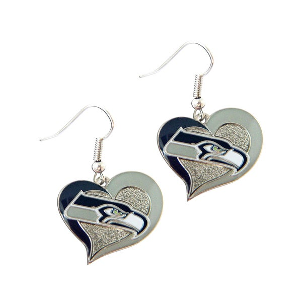 NFL Seattle Seahawks Swirl Heart Shape Dangle Logo Earring Set