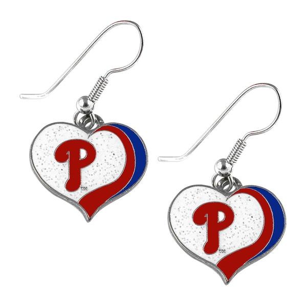 MLB Philadelphia Phillies Glitter Heart Earring Swirl Charm Set