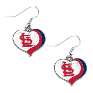 MLB St. Louis Cardinals Glitter Heart Earring Swirl Charm Set