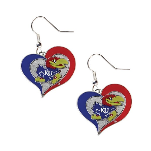 NCAA Kansas Jayhawks Swirl Heart Shape Dangle Logo Earring Set
