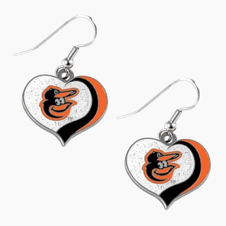 MLB Baltimore Orioles Glitter Heart Earring Swirl Charm Set