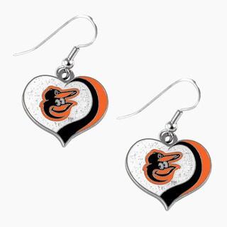 MLB Baltimore Orioles Glitter Heart Earring Swirl Charm Set