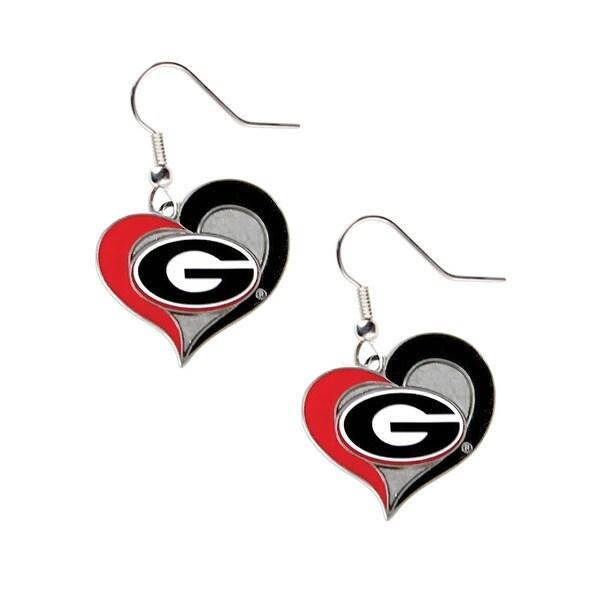 NCAA Georgia Bulldogs Swirl Heart Shape Dangle Logo Earring Set
