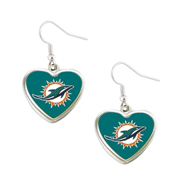 Miami Dolphins Non-Swirl Heart Shape Dangle Earring
