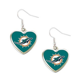 Miami Dolphins Non-Swirl Heart Shape Dangle Earring