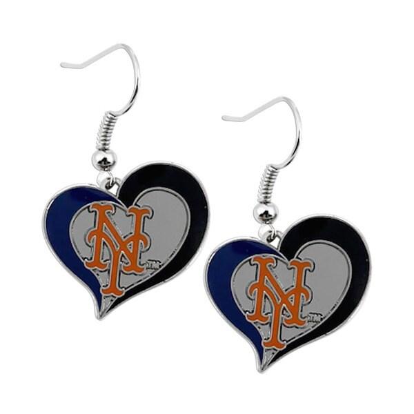 MLB Sports Team Logo New York Mets Swirl Heart Dangle Earrings
