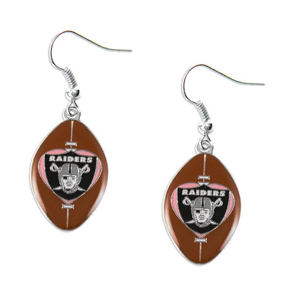 Oakland Raiders Football Sports Team Logo Dangle Pink Heart Earring