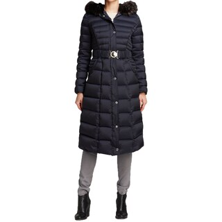 Laundry by Shelli Segal Women's Blue Down Maxi Puffer Coat