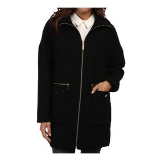 Michael Michael Kors Women's Black Wool Boucle Zip Front Jacket