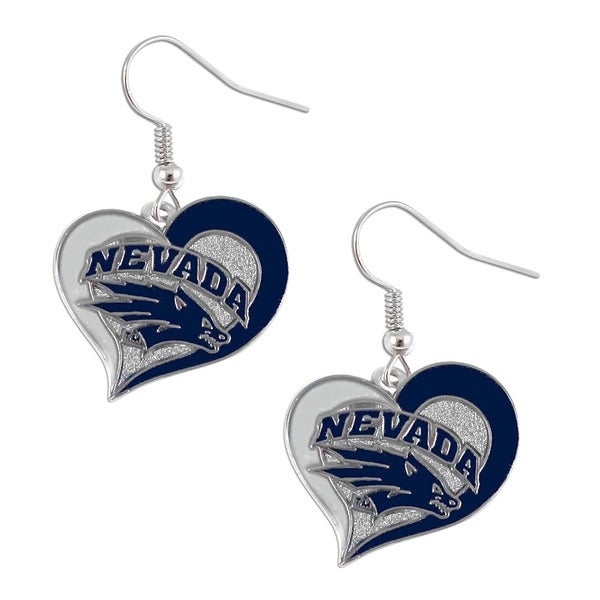 NCAA Nevada Wolf Pack Swirl Heart Dangle Logo Earring Set