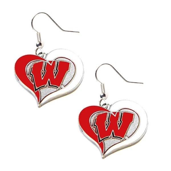 NCAA Wisconsin Swirl Heart Dangle Earring Set