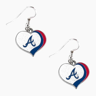 MLB Atlanta Braves Glitter Heart Earring Swirl Charm Set