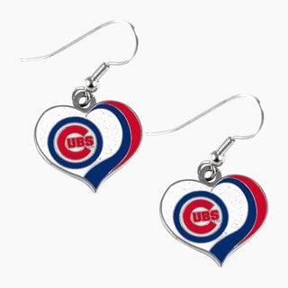 MLB Chicago Cubs Glitter Heart Earring Swirl Charm Set