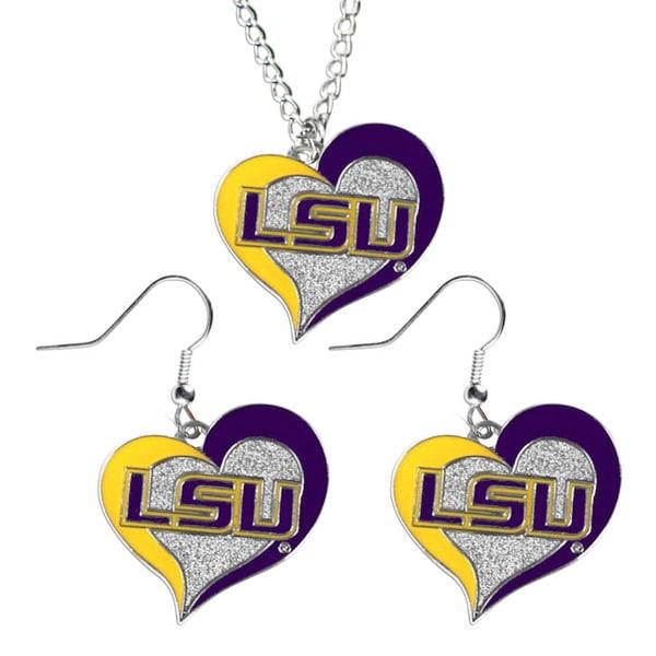 NCAA LSU Swirl Heart Pendant Necklace and Earring Set