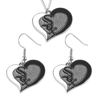 MLB Chicago White Sox Swirl Heart Necklace and Earring Set