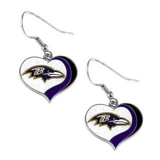 NFL Baltimore Ravens Glitter Heart Earring Swirl Charm Set