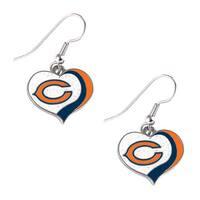 NFL Chicago Bears Glitter Heart Earring Swirl Charm Set
